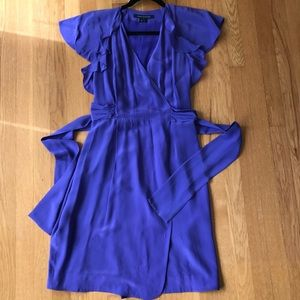 French Connection Purple Silk Ruffle Wrap Dress